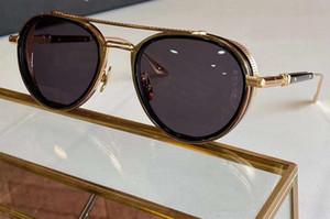 Lunettes de soleil Noir Pilot Refroidir Gold Frame gris unisexe lunettes de soleil 52mm EPLX occhiali da sole Firmati avec la boîte