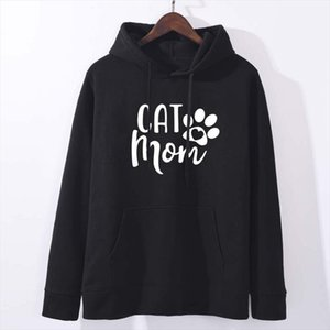Cat Mom Letter Hoodies Woman Fleece Long Sleeve Sweatshirt Woman Spring Autumn Jumper Drop Shipping