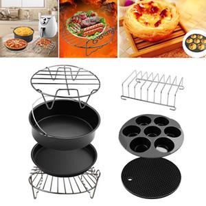 Fryer Air Accessoires 7inch, Ensemble de 7, Barrel Cake, Pizza Pan, moule gâteau, Rack, Silicone Mat