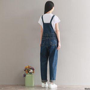 New Retro washed denim suspenders wide-leg casual denim jumpsuit with buckle pocket wholesale