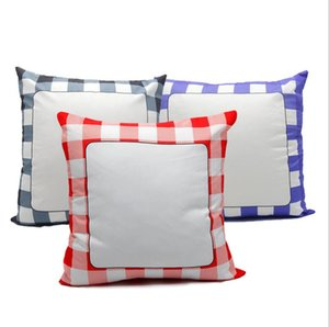 sublimation blanks Pillow Case 40*40cm Grid Heat Transfer Throw Cushion Cover 3 Colors Home Sofa Pillowcases