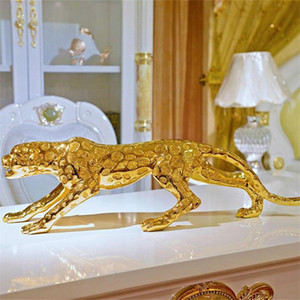 2021 Moderne abstrakte Gold Panther skulptur Geometrische Harz Leopard Statue Wildlife Decor Geschenk Handwerk Ornament Zubehör Möbel