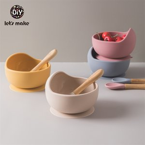Let's Make Children's Tableware Silicone Baby Feeding Bowl Set Spoon Easy To Clean Soft Pink Food Plate Bamboo Dishes For Games LJ201221