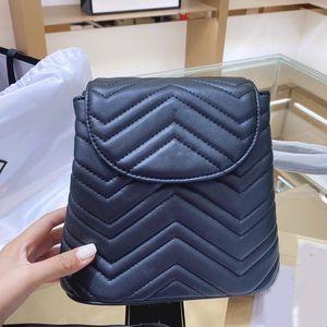 Рюкзак сумка сумка кошелька цепи сумки на плечо мода натуральная кожа двойной g золотая аппаратная подлинная кожаная нить нить черная