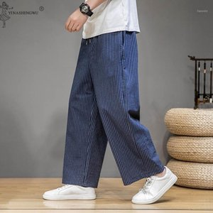 Japanese Style Men Linen Pants Samurai Costume Yukata Kimono Striped nine-point Loose Wide Leg Trousers Male Summer Streetwear1