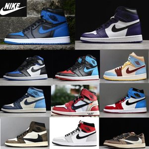 Hot selling New 1 Top 3 Royal Toe OG basketball shoes 1S Women Mens unc top 3 Low Travis Scotts SneakersSize 36-46