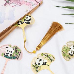 1PC Chinese Style Retro Metal Bookmark Panda Pendant Hollow Bookmark Book Tassel Pagination Mark Stationery Supply Gift