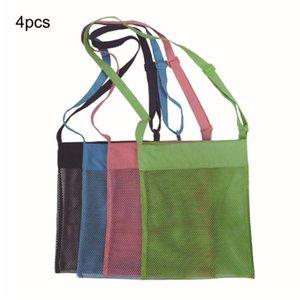 4PCS Large Summer Kids Mesh Shell Bag Portable Kids Sea Shell Bag Mesh Children Beach Foldable Seashell Beach Tote