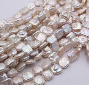 high quality Baroque 12mm square pcs pearl lady's necklace up-market 77cc