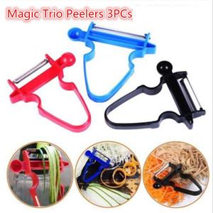 Magic Trio Peelers Slicer Bliner Shredder Peeler Julienne Cutter 3pcs / Set Peel Bumone creativo Zesters di frutta in acciaio inossidabile Zotel da cucina LLS567
