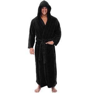 Men Bathrobe Robes Sleepwear Winter Lengthened Plush Shawl Home Clothes Long Sleeved Robe Coat Sleepwear Male #2O22