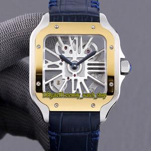En Iyi Sürüm TW 0012 2020018 İskelet Dial İsviçre 4 S20 Otomatik Mekanik Altın Çerçeve Erkek İzle 316L Çelik Kılıf Deri Spor Saatler 0010