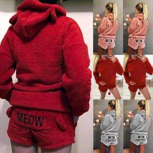 Kadın Eşofman Bayan Bayanlar Sıcak Uzun Kollu Hoodie Şort Tow Parça Seti Pijama Kıyafetler Pijama Drop Shipping