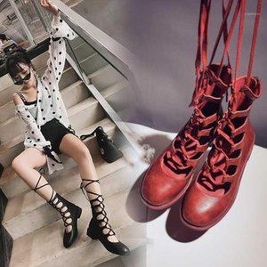 INS Botas de tobillo de las mujeres calientes 2020 zapatos de moda Mujer de cuero genuino Botas de cuero de la vaca Hollow Roman Sandals Summer1