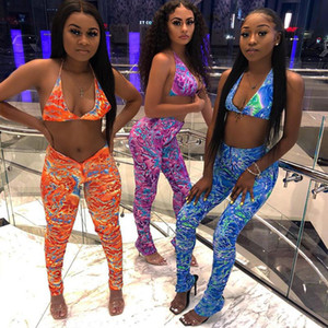 2020 Fashion Tie Dye Print Bra Crop Top and Pants 2 Piece Set Women Clothing Sexy Club Outfits Matching Suit Sweat Suits