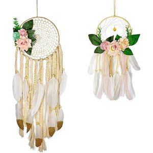 2 PC Boho Dream Catchers 수제 Dreamcatchers 꽃 Macrame Dream catcher 벽 매달려 장식