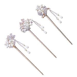 Fiore tradizionale cinese simulato perle nappa dei capelli Chiusura Hair Sticks Tornante ragazza delle donne di festa di nozze Headwear Decor