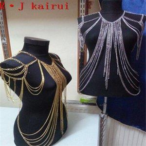 Zincirler Moda B668 Kadın Punk Altın Renk Takı Benzersiz Tasarım Boyun Vücut Omuz Üst Kostüm