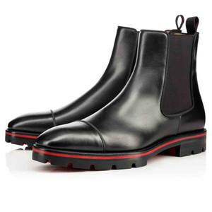 Luxurys Tasarımcılar Erkek Bilek Boots Kırmızı Alt Patik Kavun Boots Siyah Dana derisi Kauçuk Lug Sole Erkek Moda Ganimet Ünlü Parti Düğün
