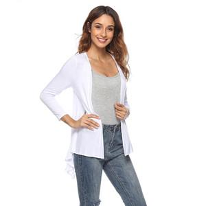 GAOKE New Autumn Women's Front Open Cardigan Long Sleeve Irregular Hem Thin Loose Cardigan Fashion Irregular Hem Coat