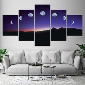 Canvas Painting Moon Moving On The Mountain 5 Pieces Wall Art Painting Modular Wallpapers Poster Print Living Room Home Decor