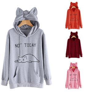 Hot Selling Loose Cat Print Hooded Women's Sweater