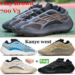 Novo 700 v3 com caixa argila marrom kanye corredor tênis sapatos cártamo azareth alvah azael reflexivo homens mulheres sneakers brilho no escuro