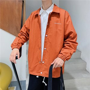 Autumn new Men stylist Jackets retro solid color sports jacket men and womens long sleeve coat loose and handsome trend student coat