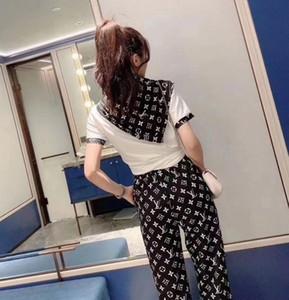 2020 nuevo estilo de bordado blanco con camiseta de moda y negro + negro pantalones impresos traje como un regalo bufanda