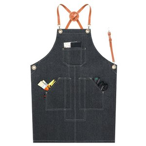 Denim Cook Apron Barista Bartender Chef Hairdressing Apron Catering Uniform Work Wear Anti-Dirty Overalls