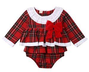 Baby Boy Girl Xmas Romper Christmas Infant Baby Boy Girl Long Sleeve Romper Fall Bebes Body Suit For Babys Jumpsuit Costume bowknot lattice