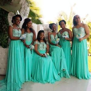 Custom Aqua Blue Bridesmaid Dresses Cheap Applique Lace V-neck Off The Shoulder Maid Of Honor Dress Prom Evening Gowns Formal Womens
