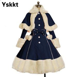 Yskkt Женщины Лолита пальто зимы теплый меховой воротник Bowknot платье способа куртки Сладкая принцесса однобортный Шинель Хеллоуин костюм