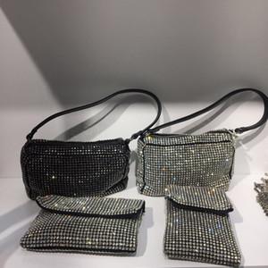 Dazzling Silver Diamond Minaudiere Kupplungs-Abend-Beutel-Frauen-Hochzeit Cocktail-Handtasche Brautkristallgeldbeutel-Q1113