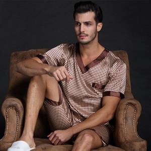 Thoshine 2021 frühling sommer herbst männer satin seide pyjamas set von t-shirt shorts männliche seepfwear freizeit hause kleidung plus größe