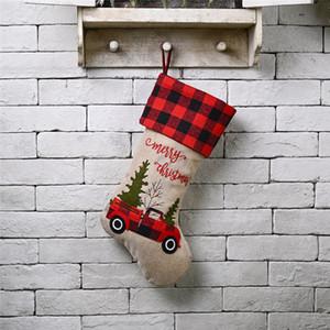 """Media de la Navidad 18"""" Camión rojo bordado de lino Buffalo Plaid Enganchado la media de Navidad decoraciones de Navidad y la fiesta de accesorios JK2010XB"""
