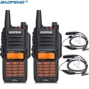 2PCS Baofeng UV-9R Plus 8W High Power 2800mAh батареи Dual Band IP67 водонепроницаемый Walkie Talkie + 2 Covert воздуха Акустическая трубка Headset