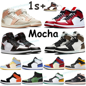 Top scarpe da basket 1 1s Mens Sneakers High Dark Mocha Travis Scotts Mid Pink Quartz Bianco Palestra Red Shattered Backboard Donne da tavolo