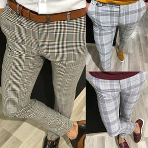 남성 패션 트렌드 옴므 스키니 비즈니스 캐주얼 슬림 맞는 공식 파티 바지 격자 무늬 긴 바지