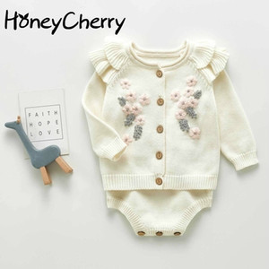 Baby girls sweaters Flower Coat Strap Romper Crawling Clothes Kids sweater cardigan 201126