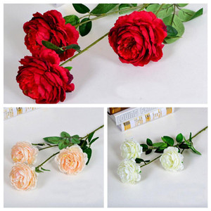 Fiori artificiali Bella fai da te Bouquet Party Primavera Decorazione di nozze Flower Flower 3 Head Rose Peony Fiori di seta artificiale EEF4024