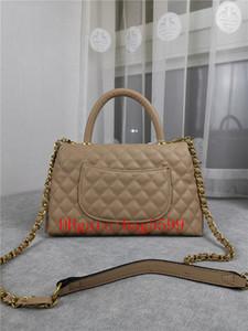 2021 جديد المد يد حقيبة اليد الحقيبة الفاخرة المرأة حقيبة جلدية سلسلة المعادن حقيبة يد فتاة عالية السعة الكافيار لينغوين شبكة