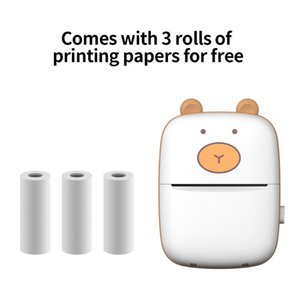 Mini Printer BT Connection Printing Wireless Printer Pocket Photo Printing Label Thermal with 3 Rolls of Papers