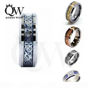 Wholesale Hot Sales Style 8mm Unique Silver Rose gold Gold Celtic Dragon Men's Women's Tungsten Carbide Ring Wedding Band Jewelr