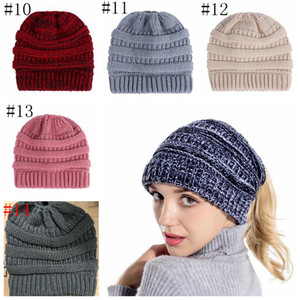 Knitted Cap Ponytail Cap Women Caps Fashion Beanie Outdoor Ski Beanies Winter Warm Wool Knitting Hat Party Hats Supplies 14 styles HWC4252