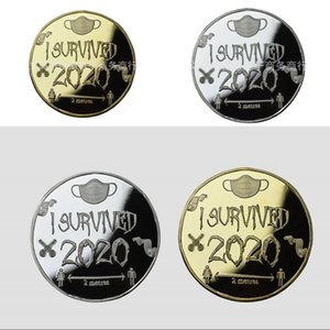 2020 Survivor Commemorative Coin Lucky Coins I Survived Mask Men Women Pattern Gold Silver Plating Circular Sculpture 6jp L2