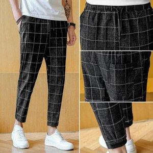 2021 Summer Fashion Trend Lattice Teenagers Handsome Men Casual Pants Cotton Leisure Plaid Male Trousers Tide Sweatpants Homme