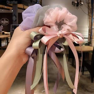 Bow large intestine Circle For Women French Retro Ribbon Hair Rubber Band Korea ins Sweet Hair Ropes Hair Accessories