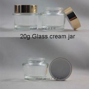 Hot sale 20pcs High Quality 20g Cream cone transparent glass jar, cream cans, sub-bottling, gold aluminum cover