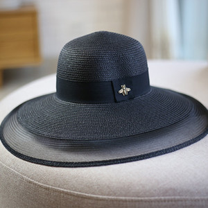 Sommer Outdoor Frauen Wide Krempe Hüte Vintage Stil Mesh Patchwork Strohhut Mode Sonnenschutz Strand Hüte